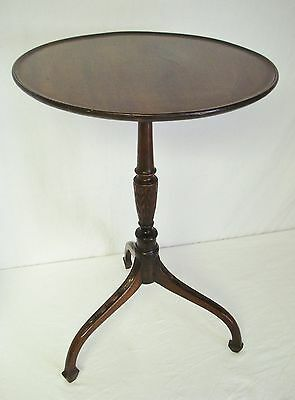 "Antique Mahogany 16"" Dish Tilt Top Candle Stand Table Acanthus Leaf Carved Stem"