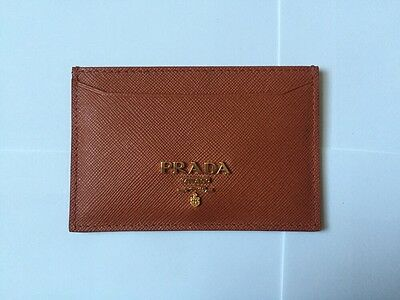 NIB PRADA Brown (Rame) SAFFIANO METAL Leather Women's Credit Card Case Holder