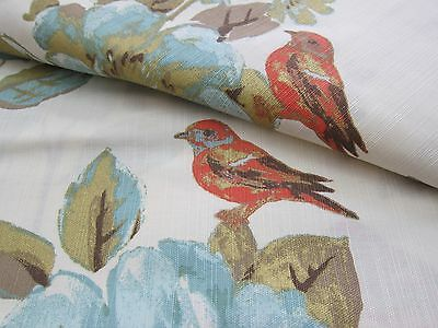 """ENVOGUE Floral Bird Window Curtain Panels Set of 2 Drapes Pair 96"""" Teal Gold NEW"""