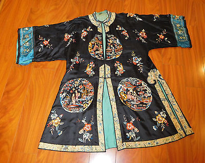 Antique Chinese Robe embroidery silk  as is