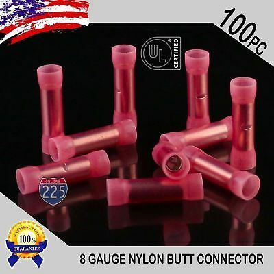 100 Pack 8 Gauge Wire Butt Connectors Red Nylon 8 AWG Crimp Cable Terminals USA