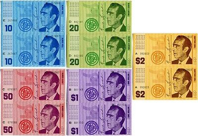 Hutt River Province N001 1970, 10+20+50 Cents, 1+2 Dollars UNC cons SNs,10notes