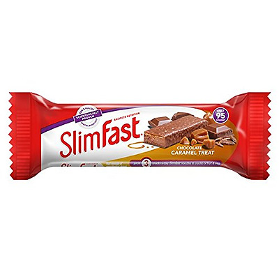 SlimFast Chocolate Caramel Snack Bar, 26 g - Box of 24 - Low Calorie Snack