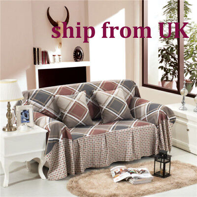 Nice Checked Linen Blend Slipcover Sofa Cover oUKL Protector for 1 2 3 4 seater