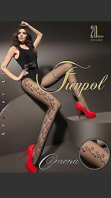 "WOMEN LADIES BLACK PATTERNED TIGHTS 20 Denier  ""OMENA"" SIZE M-XXL *"