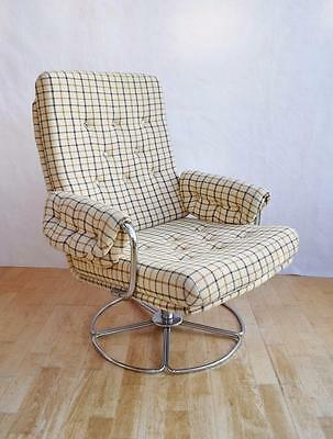 Mid Century Retro Danish Woollen Swivel Easy Lounge Arm Chair 1960s 70s