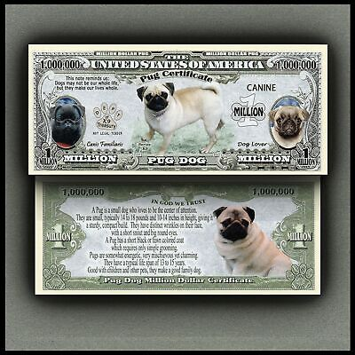 Pug Dog Novelty One Million Dollar Bill #ka6744