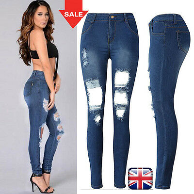 Womens Ladies Jeans High Rise Ripped Slim Fit Skinny Denim Pants UK Size 6-14