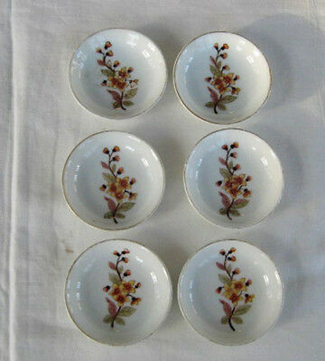 6 Butter Pats Carlsbad, Marx & Gutherz, Floral on White w/ Gold Trim
