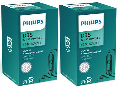 2x NEW PHILIPS XTREME VISION +150% D3S 42403XV2C1 4800K HEADLIGHT GERMANY GEN 2