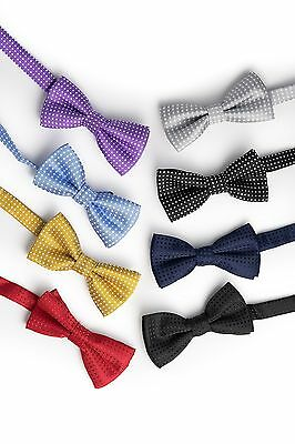 (SET OF 8) ADJUSTABLE Pre-Tied Double Bow Ties FOR BOYS Adjustable Strap BOWTIE