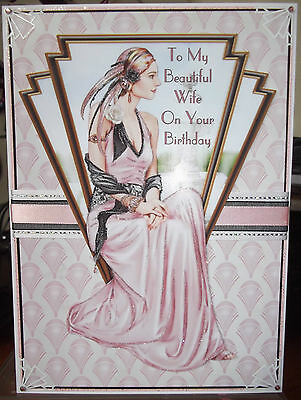 Handmade Art Deco personalised birthday wife card a classic lady in pink