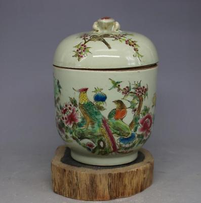 Chinese Qing Tongzhi powder color flower cover cans