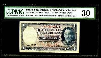 1935 STRAITS SETTLEMENT $1 DOLLAR TIGER BANK NOTE KP # 16b PMG VERY FINE 30