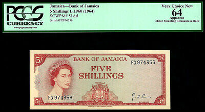 ND (1960-1964) BANK OF JAMAICA FIVE SHILLINGS NOTE KP #51Ad PCGS CHOICE UNC 64