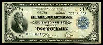 1918  Wwi Battleship $2 Federal Reserve Of Philadelphia Note Fr# 756