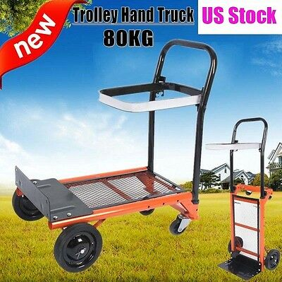 2in1 Folding Hand Truck Platform Dolly Dual Purpose 177lbs Capacity Heavy Duty