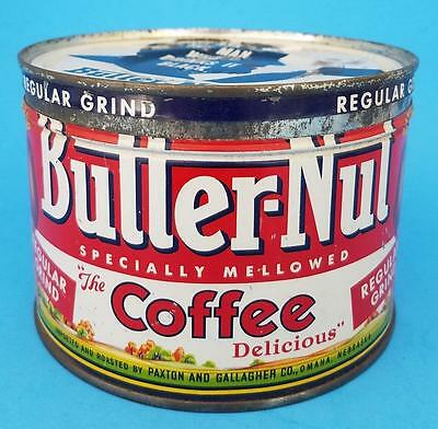 Vintage BUTTERNUT COFFEE Tin Can Key Wind 1 LB With Lid