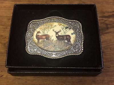 FRANKLIN MINT 10 Point Buck Sportsman Belt Buckle By RICK FIELDS