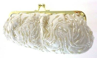 La Regale Ivory Satin Beaded Evening Clutch With Long Gold Chain