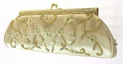 Carlo Fellini Gold Beaded/satin Evening Clutch With Short & Long Gold Chain