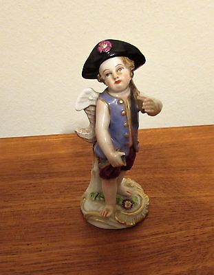 Antique Meissen cherub with fishing pole with fish figurine 19th