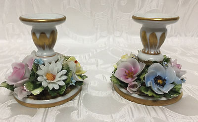 Vintage Antique Capodimonte Candle Holders Big Assortment Of Flowers Set Of 2