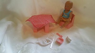 "Baby Born DOLL + TABLE FOOD SET Bulk Miniworld Mini world 1990 VINTAGE 4"" Zapf"