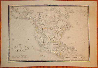 "Hand-colored Map of North America ""Amerique Septentrionale"" by Hachette 1827"