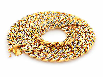 """Mens Iced out Miami Cuban Link Chain 18K Gold Plated 12mm 30"""" inch"""