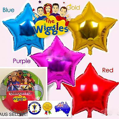 THE WIGGLES BIRTHDAY BALLOON 45cm OFFICIAL PARTY PACK SUPPLIES Foil 4 Stars!