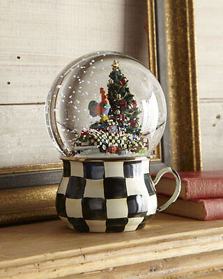Mackenzie Childs Courtly Check Truck Christmas Tree Rooster Snow Globe Rare