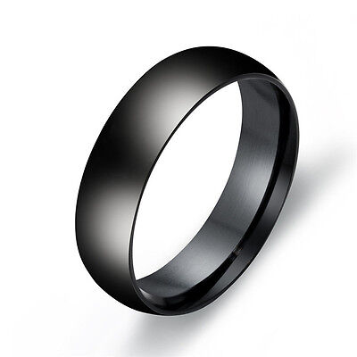 6mm Silver/Gold/Black Band Womens/Men's 316L Titanium Steel Party Ring Size 6-13