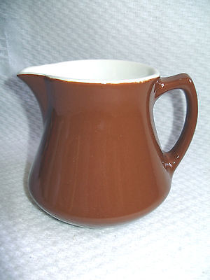 Shenango China Brown & White Ironstone restaurant ware 16 oz Pitcher New Castle