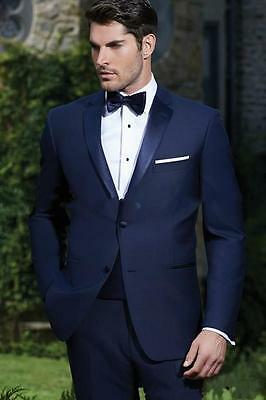 Navy Blue Mens Groom Tuxedos Formal Wedding Suits Slim Fit 2 Piece Jacket+Pants