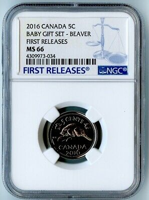 2016 Canada Ngc First Releases Ms66 Baby Gift Set-Beaver Nickel 5C! Rare!