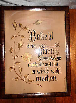 Antique Framed Victorian PAPER PUNCH NEEDLEPOINT SAMPLER Religious Embroidery