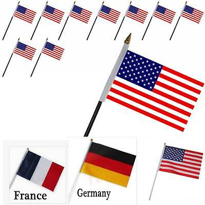 National Flags Hand Waving Country Banner Flag France USA Germany Handheld Flags