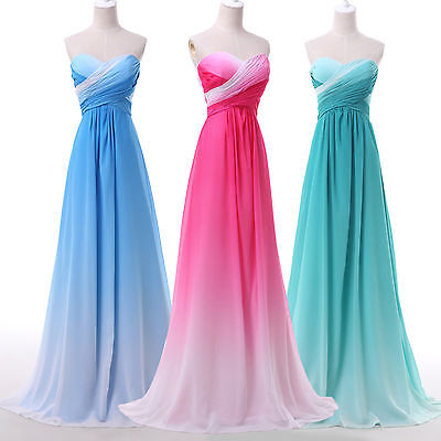 OMBRE Long Formal Evening Bridesmaid Prom Party Dress Wedding Ball Gown Dress .