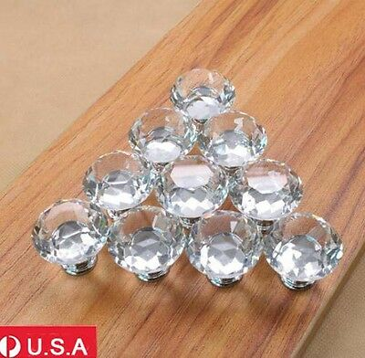 10pcs 30mm Diamond Shape Crystal Acrylic Glass Drawer Cabinet Pull Handle Knobs