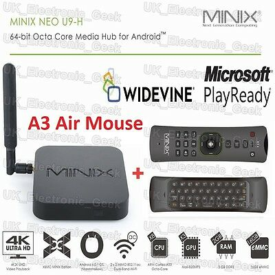 2G/16G Minix S912 Neo U9-H 4K HDR Android TV Box & A3 Air Mouse, UK/EU