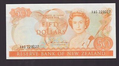 New Zealand $50 Fifty Dollar orange Paper Banknote Hardie L-173