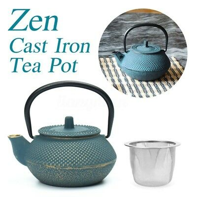 300ml Zen Blue Japanese Style Cast Iron Kettle Tetsubin Teapot + Strainer TeaPot