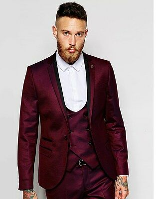 Groomsmen Notch Lapel Groom Tuxedos Burgundy Jacket Men Suits Wedding Custom