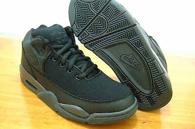 Original Junior Boys Nike Air Flight Squad Gs Black Basketball Casual Trainers