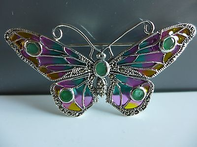 14ct gold on 925 silver plique a jour and emerald butterfly  brooch