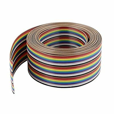 Uxcell Flat Ribbon Cables IDC Wire Flat Ribbon Cable 30Pin 1.27mm 10Ft Rainbow