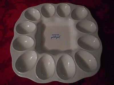 New White Farval Deviled Egg Plate Dish Tray Server made in Portugal