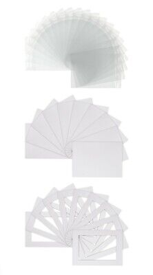 Pack of 20 Picture Mount Kits A4 Mounts, Backs, Bags - White