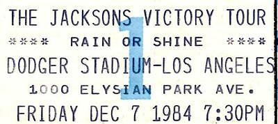 Michael Jackson 1984 The Jacksons Victory Tour Unused Concert Ticket Los Angeles